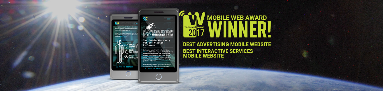 2 smartphones showing pages from arteric.com and banner announcing 2 mobile website awards