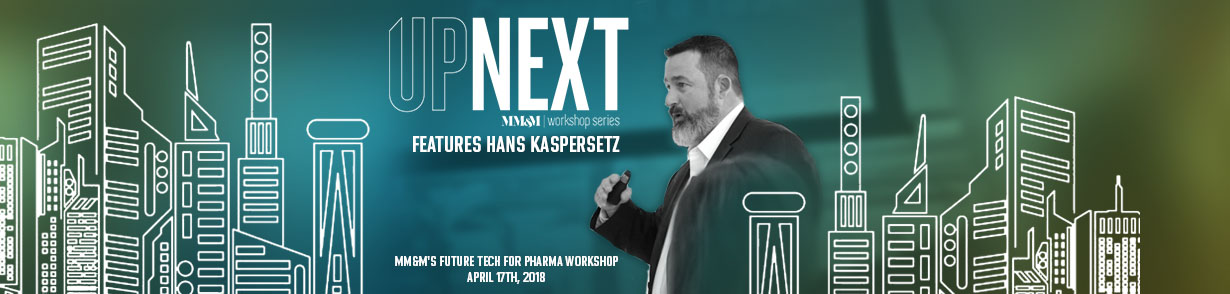 "Profile image of Hans Kasspersetz alongside the banner, ""FutureTech UP NEXT, the MM&M Workshop Series"