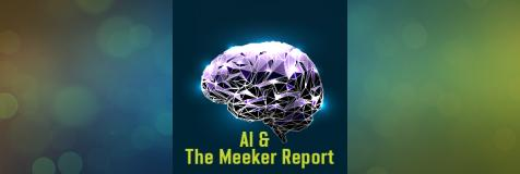 "Brain with a superimposed circuit board and the copy, ""AI and the Meeker Report"""