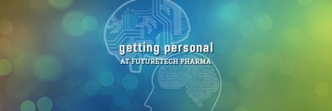 "Silhouette of human brain overlaid with electronic circuits next to silhouette of a human head. In between both are the words ""getting personal at FutureTech Pharma"