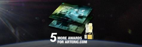 "In the background, view of earth's edge from space. Foreground contains two W3 award trophies, thumbnail images from Arteric.com, and ""5 more awards for arteric.com"""