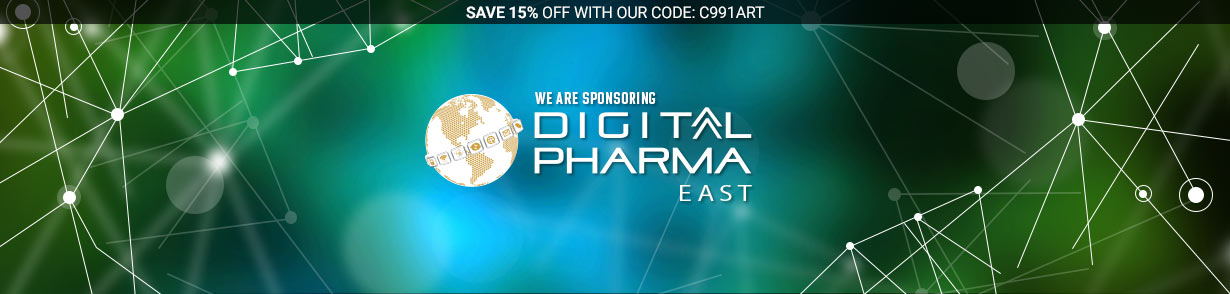 Image of Digital Pharma East Logo with text saying we are sponsoring