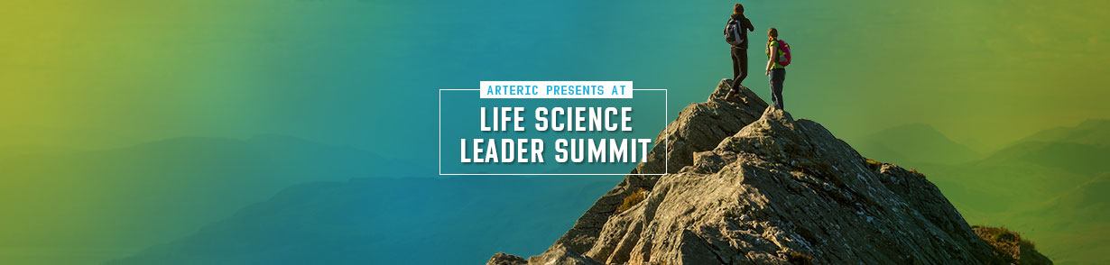 "2 people standing on a mountain peak and the banner ""Arteric presents at Life Science Leader Summit"