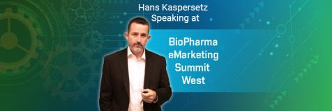 "Hans Kaspersetz next to a title banner ""Hans Kaspersetz presented at BioPharma eMarketing Summit West"