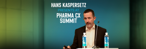 "Banner promoting Hans Kaspersetz's presentation at Pharma CX titled, ""Leveraging AI to Uncover Signals of Audience Behavior for Healthcare Marketing"""