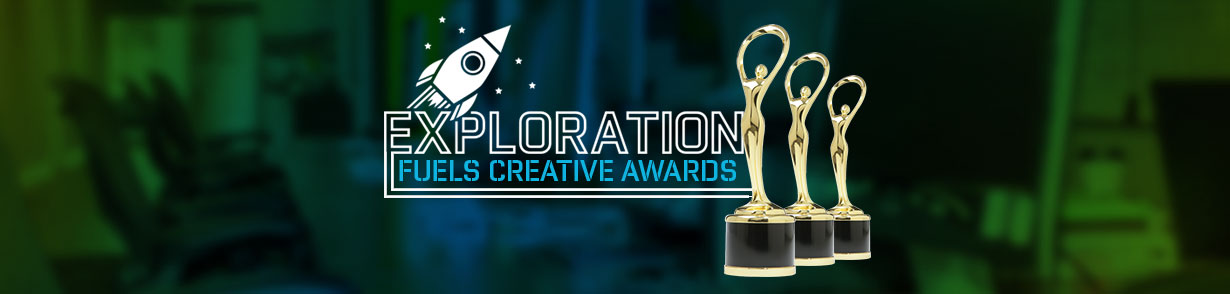 "A gold trophy appears to the right of the words ""Exploration fuels creative awards."""