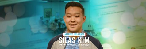 "Silas Kim next to a banner that states ""Arteric welcomes Slias Kim, Talent Acquisition Manager"""