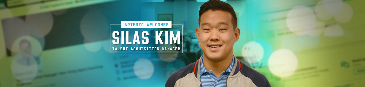 "Silas Kim next to a banner that states ""Arteric welcomes Slias Kim, Talent Acquisition Manager""]"