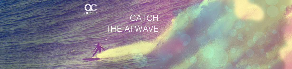 "Surfing on a large wave. Background copy reads, ""catch the AI wave"""