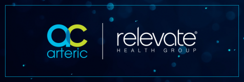 Image of bokeh background with Arteric and Relevate Health Group logo