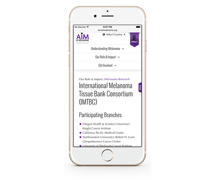 Smartphone showing AIM tissue bank page