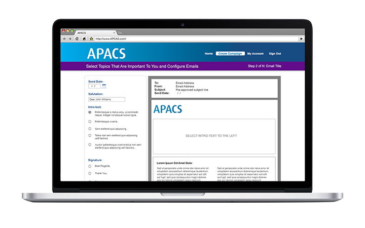 Laptop computer showing the APACS home page