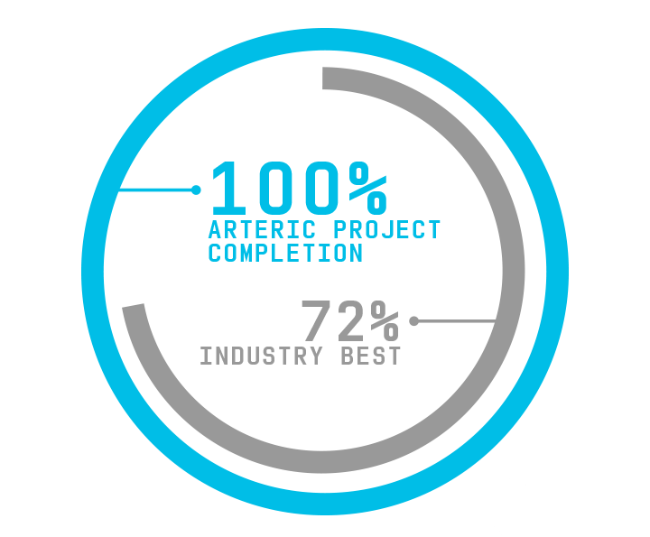 Arteric has a 100% software project completion rate. The industry best is 72%