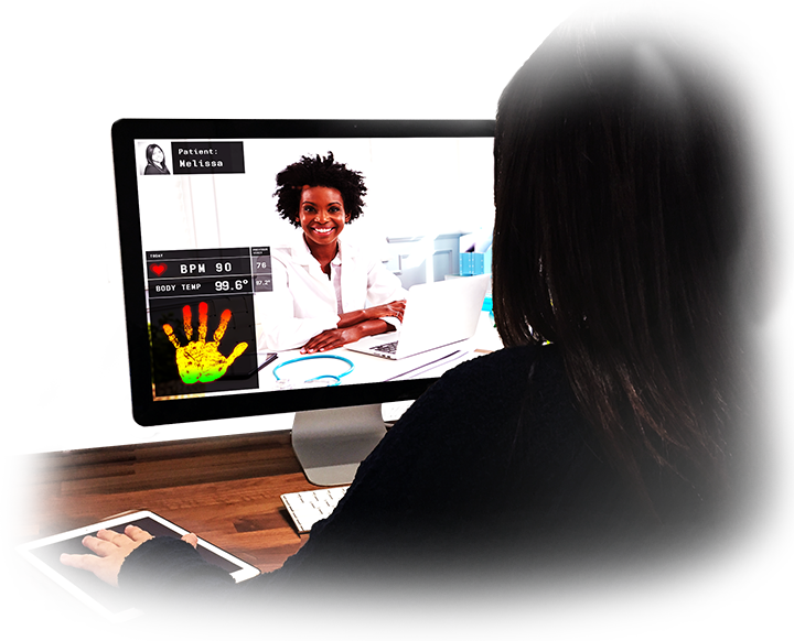 Patient communicating with physician via a computer